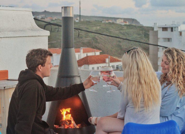 roof terrace fire pit surfiberia