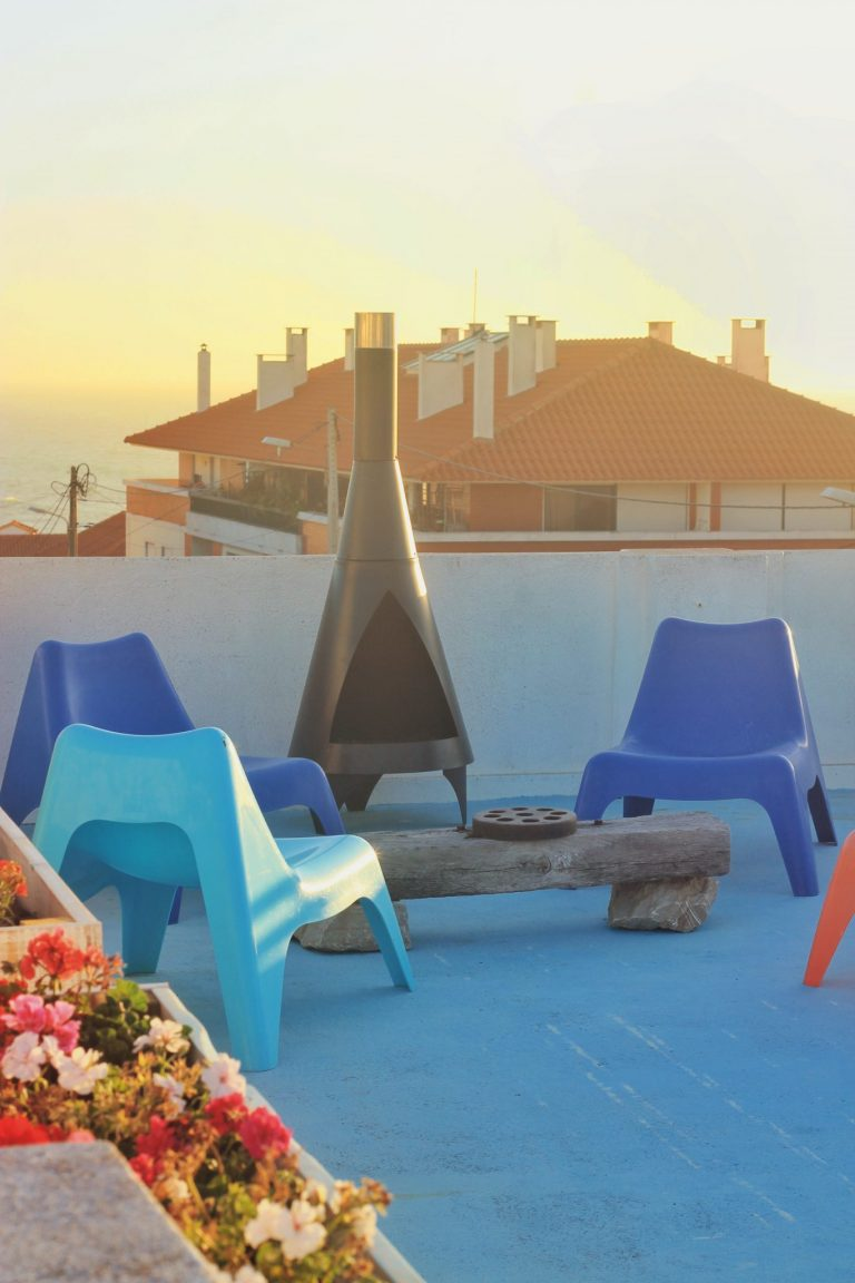 surfiberia roof terrace chiminea